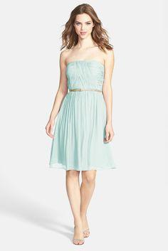 'Donna' Belted Chiffon Dress in beach glass