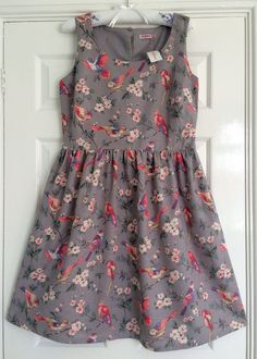 GORGEOUS CATH KIDSTON GREY BRITISH BIRDS SLEEVELESS SLUB DRESS - 14 - BNWT!