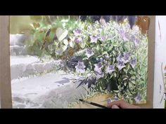 1권-도라지꽃6 - YouTube Japan Watercolor, Watercolor Flowers, Gouache Tutorial, Watercolour Tutorials, Painting Tutorials, Painting & Drawing, Watercolor Paintings, Watercolors, Art Lessons