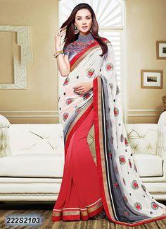 Glitzy Red Colored Georgette Embroidered Saree