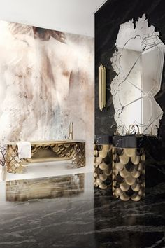 Marble bathrooms are not only decadently gorgeous but are also an amazing example how you can use this kind of material into your homes in every style. This Bathroom with our Koi Collection are a perfect example for a luxury marble bathroom. Bathroom Trends, Bathroom Designs, Bathroom Ideas, Best Interior Design, Interior Decorating, Decorating Ideas, Amazing Bathrooms, Contemporary Design, Luxury Homes