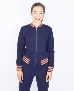 NAVY BOMBER JACKET Navy Bomber Jacket, Knitwear, Athletic, Zip, Jackets, Color, Products, Fashion, Tricot