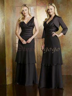 2014 New Style A-line V-neck 3/4-Length Floor-length Chiffon Mother of the Bride Dress #VJ604