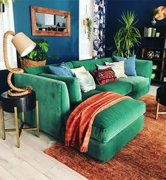 48 Most Popular Living Room Design Ideas for 2019 Images Part living room decor; Interior Design Living Room, Living Room Designs, Living Room Decor, Living Spaces, Bedroom Decor, Green Velvet Sofa, Green Sofa, Colourful Living Room, Design Furniture