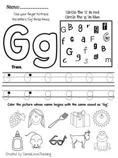 Letter G worksheets that parents and teachers can print for kids. Practice writing the letter G in uppercase and lowercase. It's fun to learn the alphabet! Letter G Activities, Alphabet Writing Worksheets, Letter Worksheets For Preschool, English Worksheets For Kids, Preschool Writing, Preschool Letters, Alphabet Book, Alphabet Worksheets, Kindergarten Worksheets