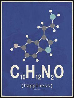 Ny molekyle plakat med happiness/glæde, her i blå og grå nuancer Chemistry Posters, Teaching Chemistry, Science Chemistry, Science Facts, Organic Chemistry, Chemistry Tattoo, Chemical Formula, Chemical Engineering, Biochemistry