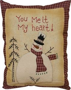 """""""You Melt My Heart"""" Stitched Snowman Pillow Christmas Sewing, Primitive Christmas, Country Christmas, Christmas Snowman, Christmas Quilting, Snowman Crafts, Christmas Projects, Christmas Crafts, Primitive Stitchery"""