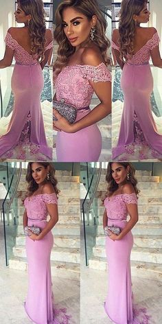 Pink Prom Dresses Off-the-shoulder, Mermaid Party Dresses Sexy Formal Dresses Long, Modest Evening Dresses Lace Sexy Formal Dresses, Gorgeous Prom Dresses, Prom Dresses For Teens, Prom Dresses 2018, Long Prom Gowns, Lace Evening Dresses, Prom Dresses Online, Cheap Prom Dresses, Lace Dress
