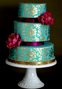 turquoise and gold damask cake