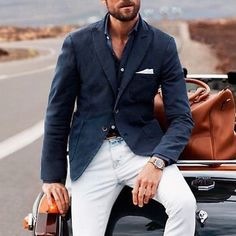 Have a nice day! #styleiswhat Sharp Dressed Man, Well Dressed Men, Business Attire For Men, Business Casual, White Jeans Outfit, Mens Style Guide, Gentleman Style, Trendy Outfits, Suits