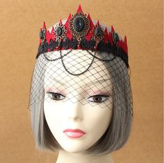 The Vampire Queen's Crown Hair Ornaments Mask Party Accessories Halloween Veil  MJ-200132