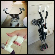 DIY Umbrella Stroller Handle Extensions!   No pipe cutting, under $10, keeping it collapsible!