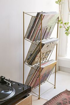 record player storage = the perfect cookbook storage