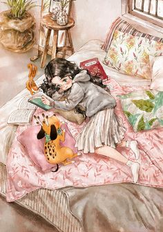 I lied with my face down on the comfy bed and spent the afternoon while reading the books I like to read and having some chat. Whenever I… Art And Illustration, Illustrations, Art Magique, Forest Girl, Anime Art Girl, Whimsical Art, Cute Drawings, Cute Cartoon, Cute Wallpapers