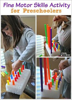 Fine Motor Skills Activity for Preschoolers - fine motor skills are so important for little learners. Using a few inexpensive items, kids can have fun while building skills.
