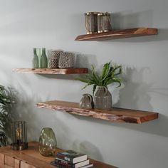 Industrial Wall Shelves, Wood Wall Shelf, Spa Room Decor, Living Room Decor, Home Decor, Large Metal Wall Clock, Art Studio Room, Shelf Furniture, Home Room Design