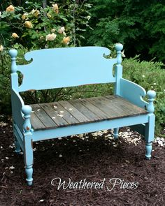 Transforming Furniture – From Bed Frame to Bench. Transforming Furniture – From Bed Frame to Bench — American Paint Company Bed Frame Bench, Headboard Benches, Diy Bed Frame, Diy Bench, Bed Frames, Wall Bench, Refurbished Furniture, Repurposed Furniture, Furniture Makeover