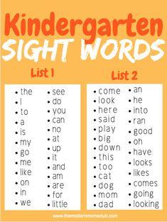 Kindergarten Sight Words — Real Mom-ish