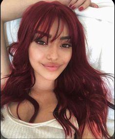Dyed Red Hair, Dye My Hair, Red Hair Fringe, Red Hair With Bangs, Red Hair Girls, Red Hair For Fall, Red Hair Streaks, Red Hair Looks, Red Violet Hair