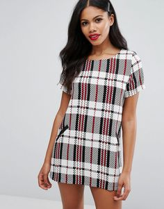 Buy it now. Girls On Film Check Shift Dress - White. Casual dress by Girls On Film, Printed woven fabric, Round neck, Faux-leather pocket detail, Regular fit - true to size, Hand wash, 100% Polyester, Our model wears a UK 12/EU 40/US 8 and is 170cm/5'7 tall. ABOUT GIRLS ON FILM New babes on the block Girls On Film nail East London cool with their trend-heavy collection. Call off the search for your weekend look and slip on one of their sassy skort sets, cool crop tops or kimonos…