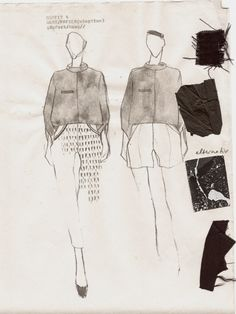 Fashion Sketchbook - fashion design sketches & fabric swatches; textiles design for apparel // Nadine Goepfert
