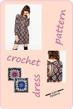 Crochet dress pattern, Dress backless, granny square sweater pattern #plussizecrochetpatterns#grannysquaredress #grannysquaresweaterpattern