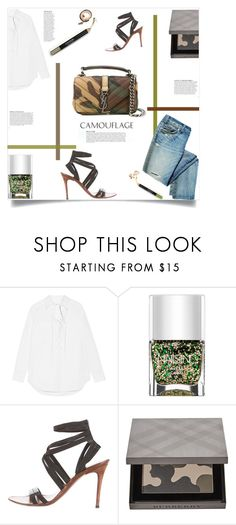 """""""Go Camo"""" by sofirose ❤ liked on Polyvore featuring Equipment, Nails Inc., Gucci, Burberry, Yves Saint Laurent, Anja, denim, whiteshirt and camostyle"""