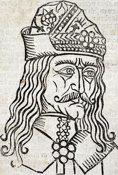 Vlad the Impaler (1431-1476), ruler of Wallachia, also known by his patronymic name Dracula. He ruled as Vlad III, succeeding his father as Voivode of Wallachia in what is now part of modern Romania. He was named 'the Impaler' after he gained a reputation for cruel executions, though he is revered as a folk hero in Romania. It is thought that Vlad III's patronymic inspired the name of the vampire in Bram Stoker's 'Dracula' (1897). Artwork from the title page of the 1491 Bamberg edition of the work known as 'Dracole Wayda'.