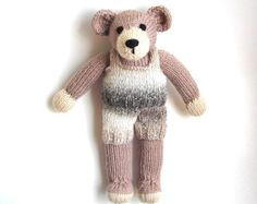 Knit Teddy Bear in Tee Shirt & Shorts Hand Knit by VeryCarey verycarey.etsy.com