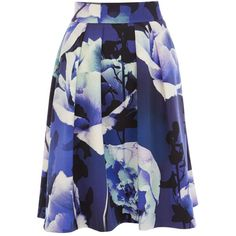 Coast Rosa skirt petite (£49) ❤ liked on Polyvore featuring skirts, clearance, petite, patterned skirts, a line skirt, blue a line skirt, coast skirts and print skirt