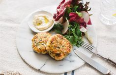 Salmon and Cauliflower Fish Cakes and Spring Salad