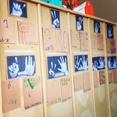 Reggio Inspired Numbers wall- photocopy kids hands and let them write the numbers! by carmela Reggio Emilia Classroom, Reggio Inspired Classrooms, Reggio Emilia Preschool, Preschool Displays, Maths Display, Numeracy Activities, Classroom Activities, Kindergarten Activities, Number Activities
