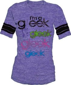 Amazon.com: Glee I'm a Gleek Striped Sleeves Purple Vintage Juniors T-shirt Tee: Clothing
