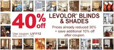 #Levolor #Sale - Save up to 40% off #Levolor #blinds and #shades through Nov. 30! Use coupon code LV112 to claim this offer!