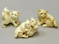 International Arts and Crafts -- Carvings, animal 2 mammoth and hippo ivory carvings, netsuke, jewelry