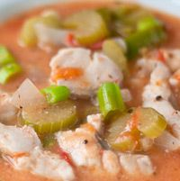 Catfish Étouffée- a Cajun stew traditionally made with seafood + veggies & served over brown rice