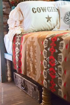 OUR COWBOY & Cowgirl pillow shams in decadent ruffled natural canvas colored cotton! multi-layered ruffles give a slightly disheveled look and the words cowboy or cowgirl are emblazoned in chocolate ink! and perfect for HIS or HER's gypsy nest. Pillow Shams, Bed Pillows, Cowgirl Bedroom, Junk Gypsy Bedroom, Kitsch, Lorie, Camping Blanket, Into The West, Western Homes