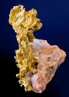 Native Gold set atop Pink Feldspar | From the Nugget Pond Mine, Betts Cove, Baie Verte Peninsula, Newfoundland, Canada