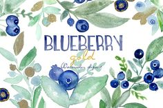 Blueberry gold. Watercolor clipart. by LABFcreations on @creativemarket