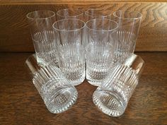 8 - CUT CRYSTAL WATER Glass Tumblers - Beautifully Cut Diamond Point & Vertical Columns Pattern - Cut Crystal Highball Glasses