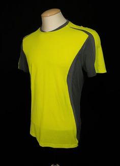 LULULEMON Mens Short Sleeve Run Shirt M Medium Yellow Gray Mesh Work Out Yoga #Lululemon #ShirtsTops