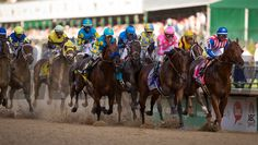 American Pharoah (#18)  ridden by Victor Espinoza, trained by Bob Baffert, won the 141st running of the Kentucky Derby at Churchill Downs in Louisville, Kentucky.  <br /> Saturday, May 2, 2015<br /> Joseph Rey Au Photo