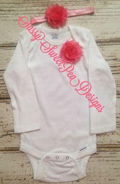 Pink Shabby Flower Onesie Set..Newborn, Baby, Girls Photo Prop Bow by SassySweetPeaDesigns on Etsy