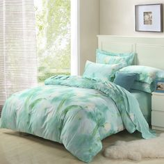 Watercolor Flower Print Mint Green Full, Queen Size 100% Cotton Bedding Sets - EnjoyBedding.com