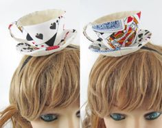 Teacup Fascinator-Playing cards; I know this is on a doll, but it would be a cute addition for Alice in Wonderland themed costume