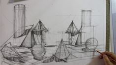 📐PD101_Preview_Simple Volumes Composition Sailing Ships, Composition, Architectural Sketches, Drawings, Simple, Architecture Sketches, Sketches, Musical Composition, Drawing