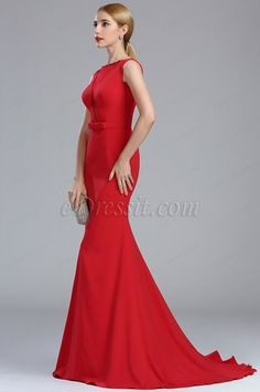 eDressit Elegant Red Long Mermaid Carpet Dress with Bowtie Mother Of The Bride Gown, Prom Dresses, Formal Dresses, Custom Made, Mermaid, Carpet, Gowns, Elegant, Red
