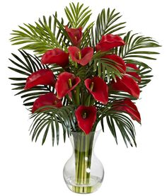 Faux Calla Lily & Palm in Water with Vase in 4 colors | 27 inches