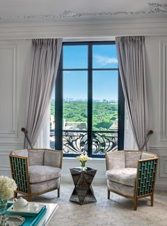 Seating for master bedroom.  The new Tiffany Suite at the St. Regis in New York.