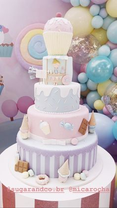 Aniversário de luisa - mica Rocha Tema: mundo dos doces Bolo Ice Cream Theme, Ice Cream Party, Cake Shop Design, First Birthday Party Themes, Mermaid Cakes, Kids Party Decorations, Candy Party, Party Cakes, Beautiful Cakes